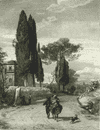 ITALY: Road from Cavi to Genazzano, antique print, 1877